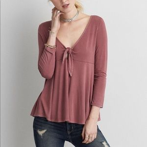 American Eagle Soft and Sexy Front Tie t-shirt